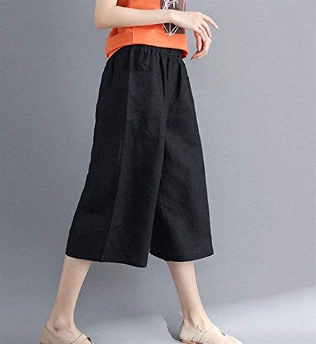 Larghi Giovane Tempo Elegante Nero Donna Forti Sciolto Femminile Moda Pantalone Hipster Larghi Taglie Moda Pantaloni Costume Pantaloni Pantalone Con Estivi Libero Tasche Monocromo XqgnwUR