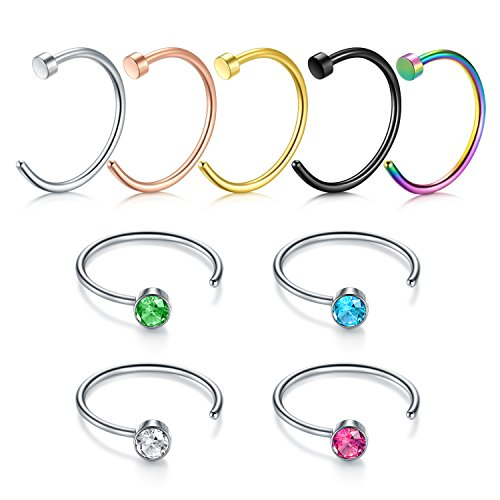Zolure Nose Rings Hoop Surgical Steel Nose Studs L Shape 20 Gauge Piercing Jewellery 9PCS ()