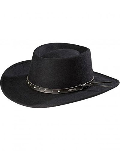 Stetson Men's Hawk Crushable Wool Gambler Hat Black Medium