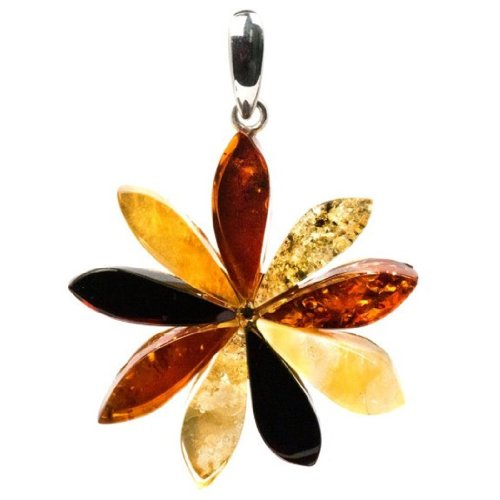 Sterling Silver Multicolor Amber Flower Large Pendant