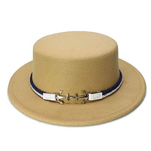 Kangol Nylon Cap - YUXUJ Kid Children Vintage 100% Wool Wide Brim Top Cap Pork Pie Pork-Pie Bowler Hat Double Anchor Nylon Band (54cm/Adjust) (Color : Khaki, Size : 54cm)