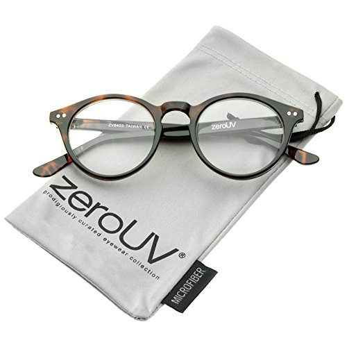 Retro Keyhole Nose Bridge Clear Lens P3 Round Glasses 46mm ()