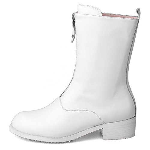 Pile Low Round Heels Lower Boots Women's AgooLar Toe Zipper White Solid S1ZqU