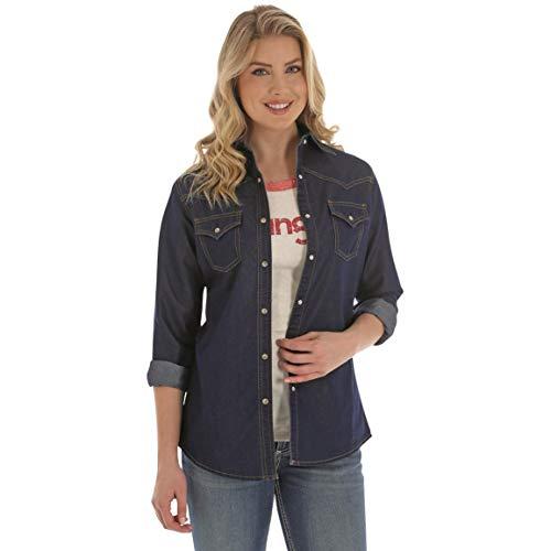 Wrangler Premium Long Sleeved Denim Shirt, Darkest Denim, 3XL
