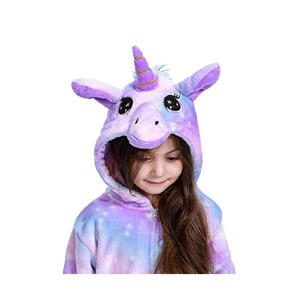 FuRobes Kids Unicorn Onesie Pajamas,One Piece Children Cosplay Animal Costume Halloween Sleepwear for Girls and Boys Gift 5