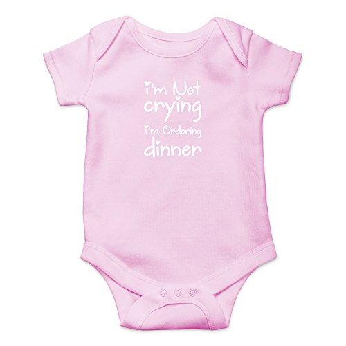 Bros Dinner (Crazy Bros Tees I'm Not Crying, I'm Ordering Dinner Funny Cute Novelty Infant One-Piece Baby Bodysuit (6 Months, Pink))