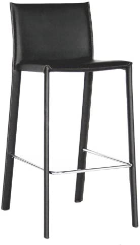 Baxton Studio Elana Leather Counter Stools, Black, Set of 2