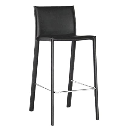 Amazoncom Baxton Studio Elana Leather Counter Stools Black Set