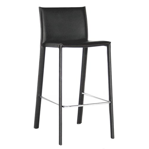- Baxton Studio Elana Leather Counter Stools, Black, Set of 2