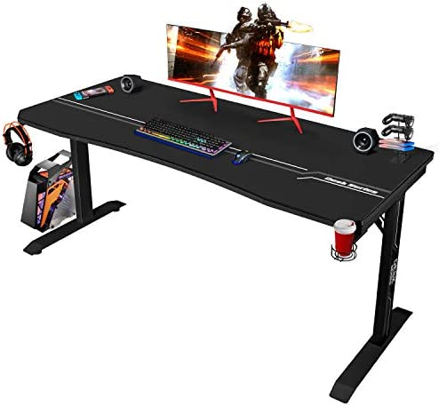 Furmax 63 Inch Gaming Desk T-Shaped PC Computer Table
