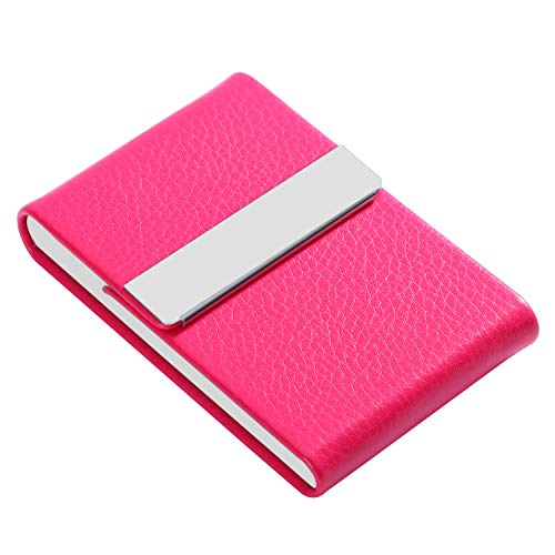 Leather Holder Card Business Case (JuneLsy Business Card Holder Case - Professional PU Leather Business Card Case Metal Name Card Holder Pocket Business Card Carrier for Women with Magnetic Shut (Rose Red))