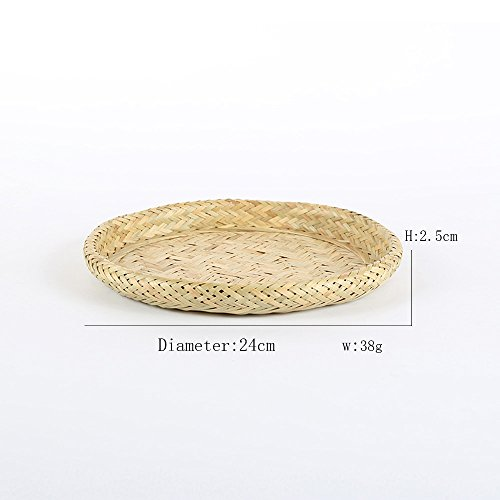 GHRMB Handmade Bamboo weaving Tray Stackable basket Kichen fruit Veggies container Storage basket Woven Bread Roll Baskets Food Serving Baskets Sieve traditional bamboo craft