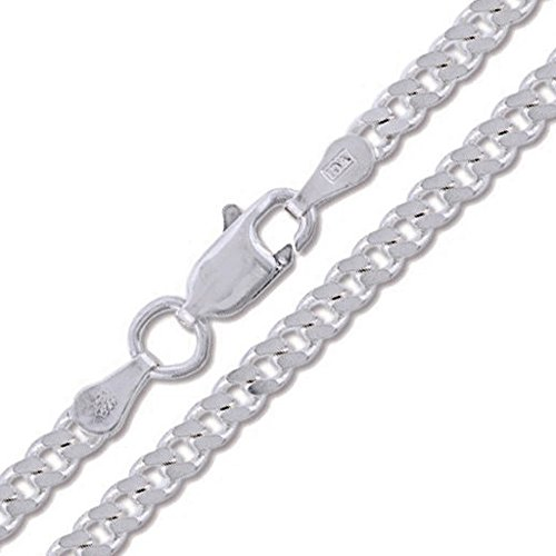 080 Curb 3mm Chain - Curb 080-3MM .925 Sterling Silver Italian Link Chain (28 Inches)