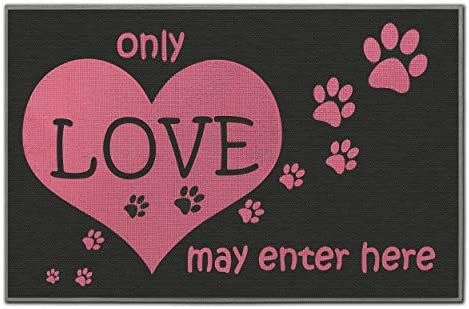 Love Welcome Mat – High-functioning Durable Front Door Mat – Eco-friendly Recycled Entry Mat – Super Easy to Clean-Or use it indoors barefoot for stimulating foot therapy- Size18x27.5 in. Paw Print