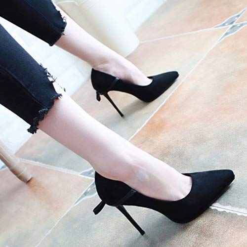 Shoes Shoes Heel KPHY Autumn Bow Shoes Thirty Tip Shallow 8Cm Fine Sexy Heel Women'S Tie Black High Velvet Eight qZFxFPw4