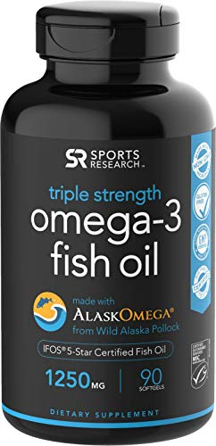 Omega-3 Wild Alaskan Fish Oil (1250mg per Capsule) with Triglyceride EPA & DHA | Heart, Brain & Joint Support | IFOS 5 Star Certified, Non-GMO & Gluten Free (90 Softgels)