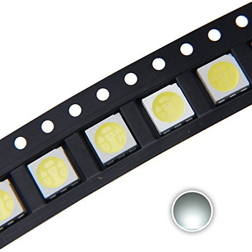 Chanzon 100 pcs 5050 White 6000K SMD LED Diode Lights (Surface Mount 5.0mm x 5.0mm 3 Chips/LED PLCC 6 pins 60mA 15-18LM) Super Bright Lighting Bulb Lamps Electronics Components Light Emitting Diodes