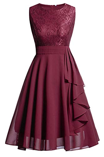 Vintage Purple Short Lace Evening Dress Chiffon Evening Party Dresses with Sashes Courte,Burgundy,4 ()