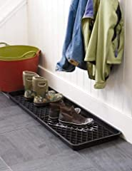 Dirty puddles on the hall floor? Not when you park your dripping footwear in one of our imported English boot trays. Made of rugged, recycled plastic, they have an extra-deep rim to corral melting snow and mud. This large tray holds a whole f...