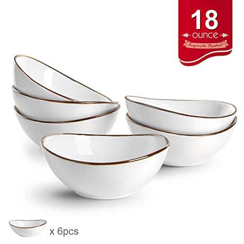 Pocelain Cereal Bowl Set, Microwave Bowl for Soup/Hot Cereal, FDA Approved, Set of 6, 18 (Oval Porcelain Bowls)