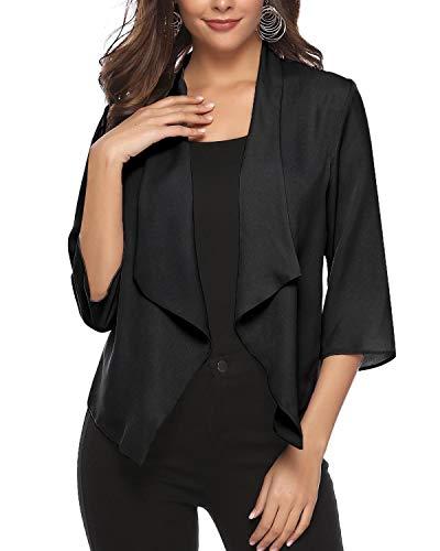 (Hawiton Women's Open Front Light Cardigan 3/4 Sleeve Thin Chiffon Blazer Black)