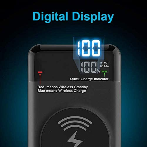 LCD Display Wireless Portable Charger Power Bank 10,000 mAH and Qi USB-A by Prestige Products for Smart Phones 3 Outputs: USB-C Tablets 2 Inputs: USB-C and Micro USB and More PD 3.0 QC 3.0