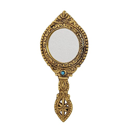 HANDICRAFTS PARADISE Hand Mirror Double Sided Antique Golden Finish Round Shape Carved in Metal