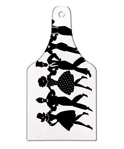Lunarable Broadway Cutting Board, Musical Theater Arrangement of Silhouettes Dancing Actors Simplistic, Decorative Tempered Glass Cutting and Serving Board, Wine Bottle Shape, Charcoal Grey and White (Difference Between State And Non State Actors)