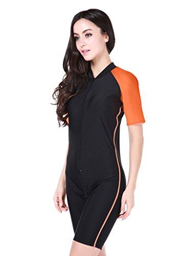 Damen UV Schutz Anzug Wetsuit Badeanzug Badebekleidung Wassersport short Orange S