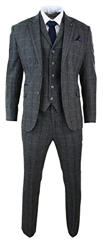 Cavani Mens 3 Piece Classic Tweed Herringbone Check Grey Navy Slim Fit Vintage Suit Charcoal 46