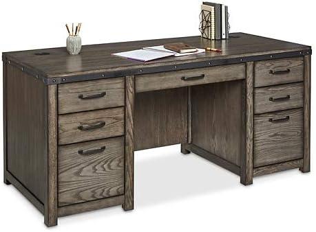 Westgate DoublePedestal Desk 68″W x 28″D Rustic Grey Veneer