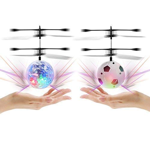 Keklle Flyling Ball 2 Pack, Flying Toy Helicopter Drone Infrared Induction with Built-in Flashing LED Light Gifts for Boys Girls