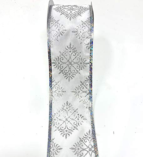 Medallion 2.5 Inch Silver Medallion - Glittery Silver Wired Ribbons Bundle (2 Rolls, 2.5 inch x 10 Yards Each) w. Large Silver Floral Medallions for Gift Wrapping & Decorating