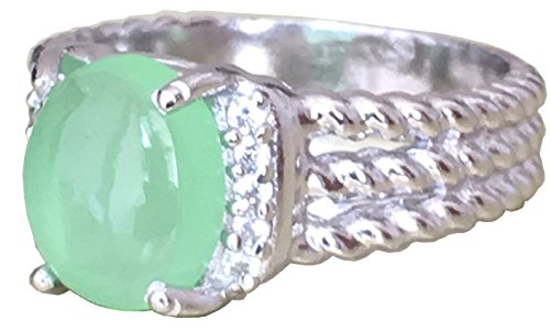 (GEMPARA Designer Inspired Twisted Cable 10x8mm Cushion Chrysoprase with Simulated Diamond Ring Size 7 8 9 (7))