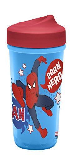 Zak! Designs Toddlerific Perfect Flo Toddler Cup with Ultimate Spiderman, Double Wall Insulated Construction and Adjustable Flow Technology, Break-resistant and BPA-free Plastic, 8.7oz.