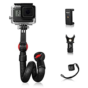 Fotopro Waterproof Flexible Tripod Smartphone Video Rig Kit with Bluetooth Remote and Smartphone Mount for Live Streaming, 45cm Adjustable Monopod for iPhone Xs Max GoPro Camera Samsung