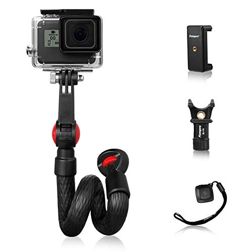 Fotopro UFO mogo Basic GoPro Selfie Stick, Waterproof Flexible Hand Grip with Bluetooth Remote and Phone Tripod Mount iPhone Xs Max DSLR Camera Samsung