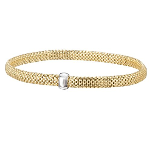 14k Yellow Gold over 925 Silver Flat Woven Stretch Bangle Bracelet- 6.25+ IN by Element Jewelry
