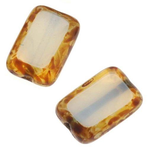 Beadaholique Czech Glass Table Cut Window Beads 8x12mm Rectangle -Seafoam Opal/Picasso ()