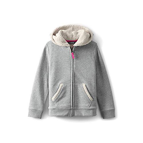Lands' End Little Girls Sherpa Lined Hoodie, M, Gray (Lands End Kids Sweater)