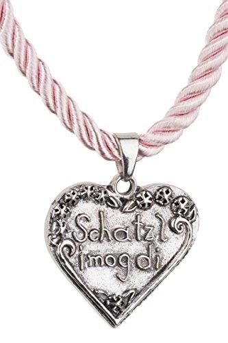 Trachtenkette Herz Anhänger Schatzl mit Kordellband diverse Farben Trachten Kette für Dirndl und Lederhose Trachtenschmuck (Rosa)
