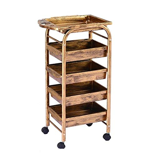 5 Tiers Retro Hairdresser Tool Trolley 4 Drawers Wooden Mirror Cabinet Metal Bracket Solid Security Strong Carrying Capacity Gold 353080cm,Ironwheel353080cmD3
