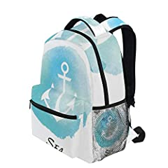 KVMV Watercolors Marine Circle Anchor Summer Vessel Travel Loyalty And Stability Theme Lightweight School Backpack Students College Bag Travel Hiking Camping BagsAnti Theft Laptop Backpack, Outdoor Travel Hiking&Camping Backpack Pack, Cas...