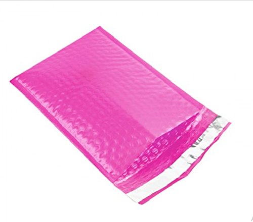 Amiff Pink Poly bubble mailers 8.5 x 13.5 Padded envelopes 8 1/2 x 13 1/2. Exterior size 9.5 x 14 (9 1/2 x 14). Peel and Seal. Mailing, shipping, packing, packaging. Pack of 20 Poly cushion envelopes.