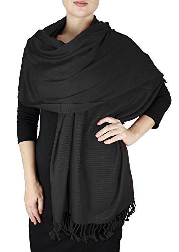 Elegant Soft Luxurious Pashmina Cashmere Wrap shawl stole From Peach Couture (Black)