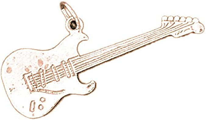 Pendentif homme guitare électrique or rose