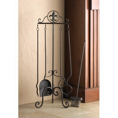 Fleur De Lis 5 Piece Iron Fireplace Tool Set
