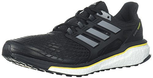 adidas Men's Energy Boost M Running Shoe, Core Black/Night Metallic/Vivid Yellow, 11 M US