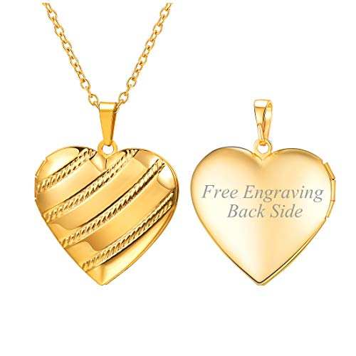 - U7 Customized Stripe Grain Photo Locket Necklace for Women Girls 18K Gold Plated Heart Pendant That Hold Picture