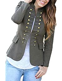 Joe Wenko Women Slim Fit Stand Collar Steampunk Double Breasted Blazer Jacket